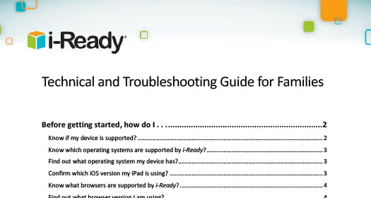 i-Ready Technical and Troubleshooting Guide for Families.