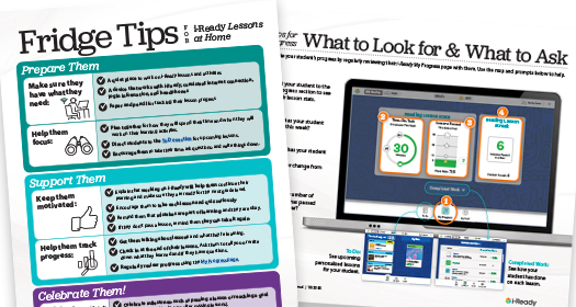 i-Ready Fridge Tips for Families and Student Dashboard.
