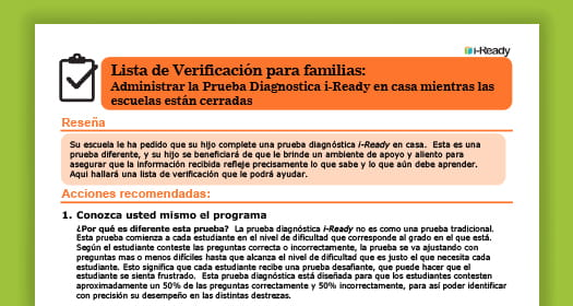 Spanish checklist for administering the i-Ready Diagnostic at home.