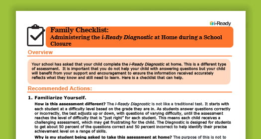Checklist for administering the i-Ready Diagnostic at home.