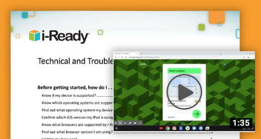 i-Ready Technical and Troubleshooting Guide with a clip of a troubleshooting video.