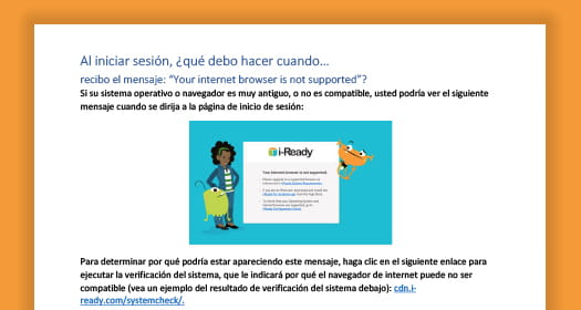 i-Ready technical troubleshooting guidance in Spanish.