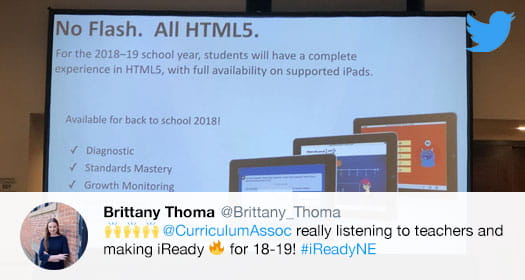 Educator tweet praising Curriculum Associates for making improvements to i-Ready.