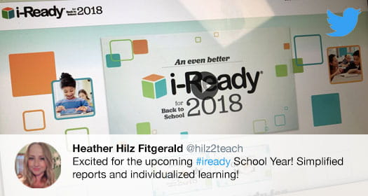 Educator tweet showing excitement for upcoming i-Ready improvements.