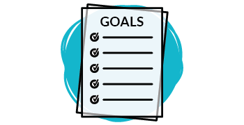 "Graphic of a checklist titled ""Goals."""