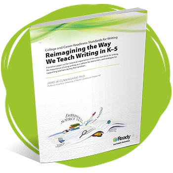 "Cover of positioning paper titled ""Reimagining the Way We Teach Writing in K-5."""