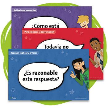 Three Ready Classroom Mathematics Discourse Cards in Spanish.