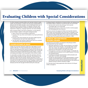 Page about Evaluating Children with Special Considerations from the IED III Standardized.