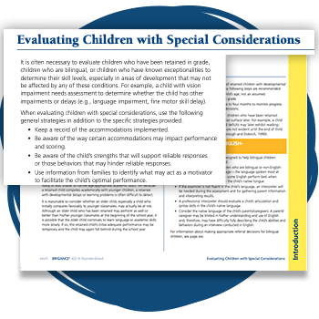 Page about Evaluating Children with Special Considerations from the IED III.
