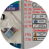 Whiteboard with classroom schedule.