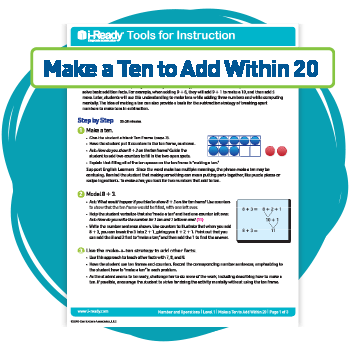 "An i-Ready Mathematics Tool for Instruction called ""Make a Ten to Add Within 20."""