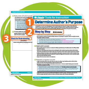 "An i-Ready Reading Tool for Instruction called ""Determine Author's Purpose."""